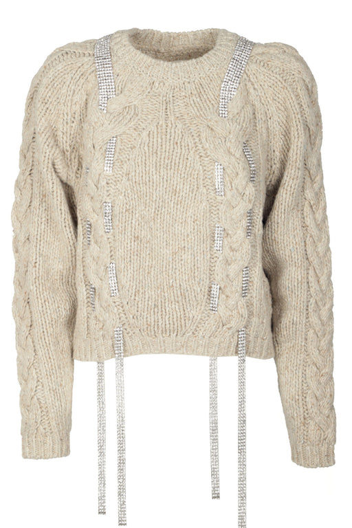 Wool Sweater With Strass Insert