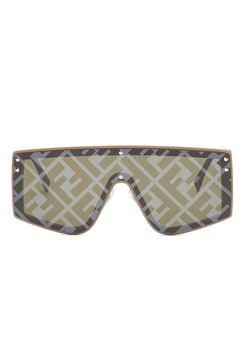fendi fendi fabulous monogrammed shield sunglasses beigegreen silver decor napszemuveg