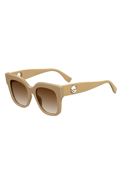 fendi square sunglasses with inset logo temples beigebrown shaded napszemuveg