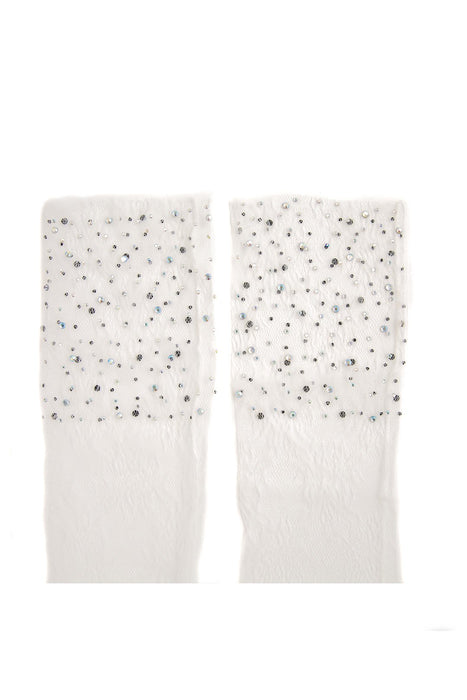 Sheer Socks With Crystals