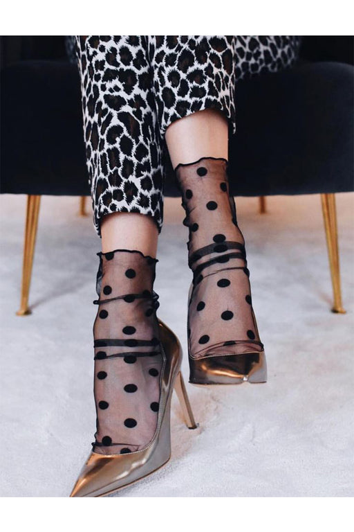 Sheer Socks With Dots