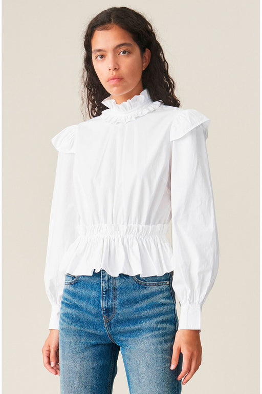 ganni frilled organic cotton blouse bright white fodros bluz