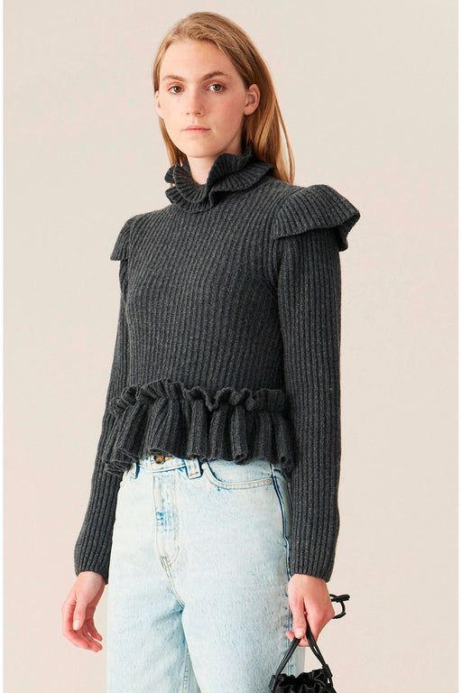 ganni frilledtrim knitted wool top phantom gyapjufelso