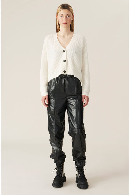 ganni leather pants black bornadrag