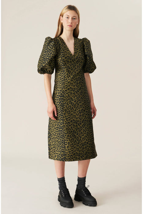ganni leopardjacquard dress olive drab ruha