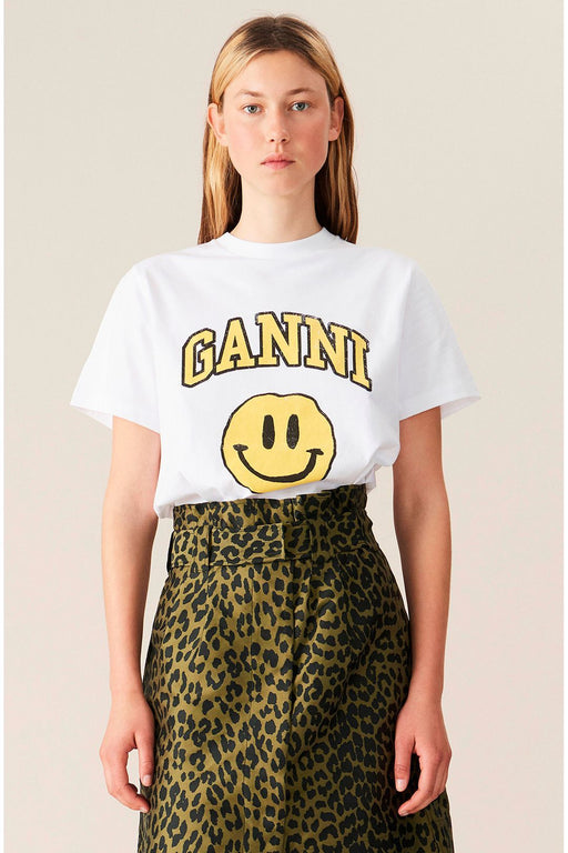 ganni organic cotton tshirt with yellow smiley print bright white organikus pamut polo