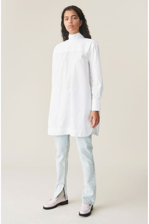 ganni organic cotton shirt dress bright white ingruha