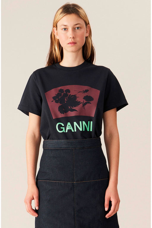 ganni organic cotton tshirt with flower print phantom organikus pamut polo