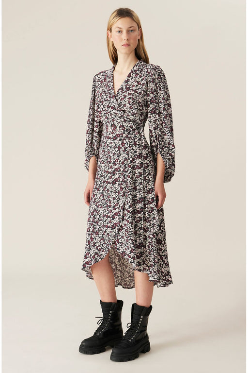 ganni printed wrap dress phantom ruha