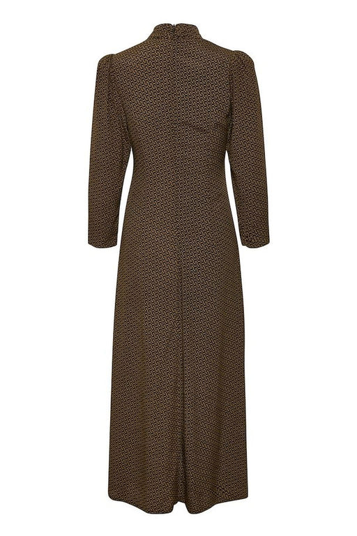 gestuz elay woven maxi dress brown logo szott maxiruha