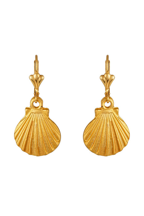 Gold Mini Scallop Shell Earrings
