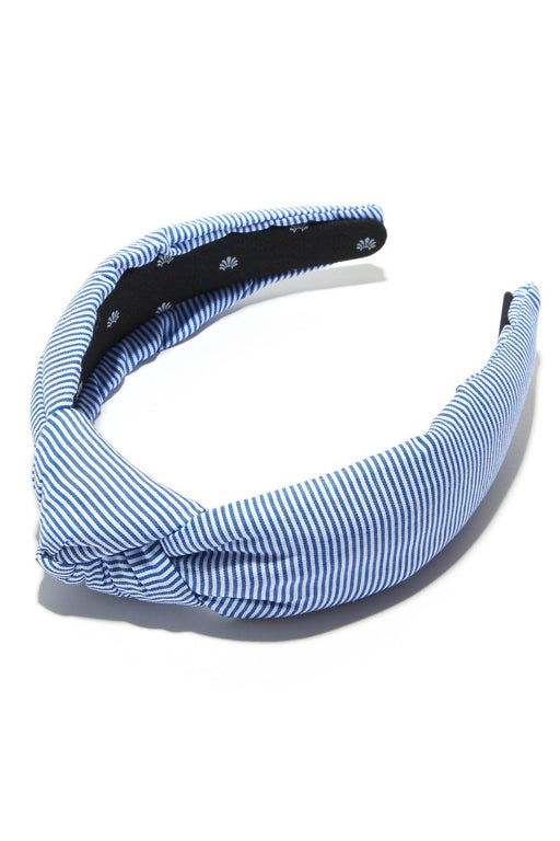 lele sadoughi striped headband ocean blue seersucker hajpant