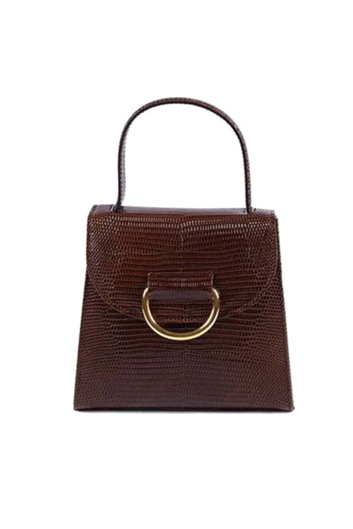 little liffner little lady lizardembossed leather handbag dark brown gold hardware bor kezitaska