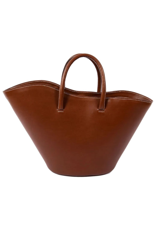 little liffner open tulip large totebag chestnut gold hardware nagy meretu bortaska