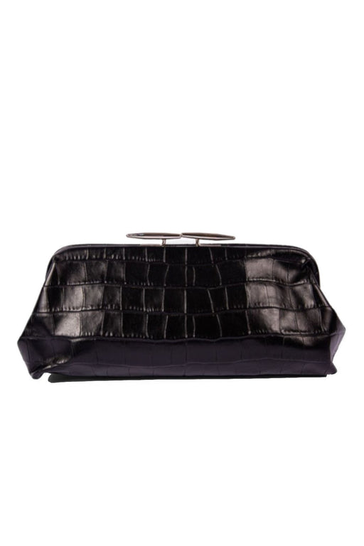little liffner oyster crocembossed leather clutch black silver hardware bor alkalmi taska