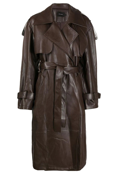 low classic leather trench coat brown ballonkabat