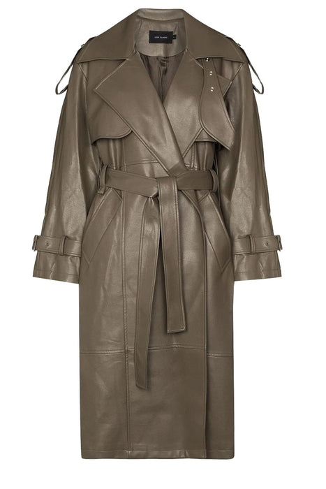 low classic leather trench coat khaki ballonkabat