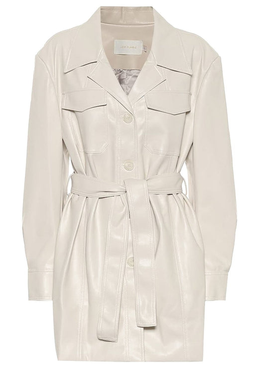 low classic long belted leather shirt ivory boring ovvel