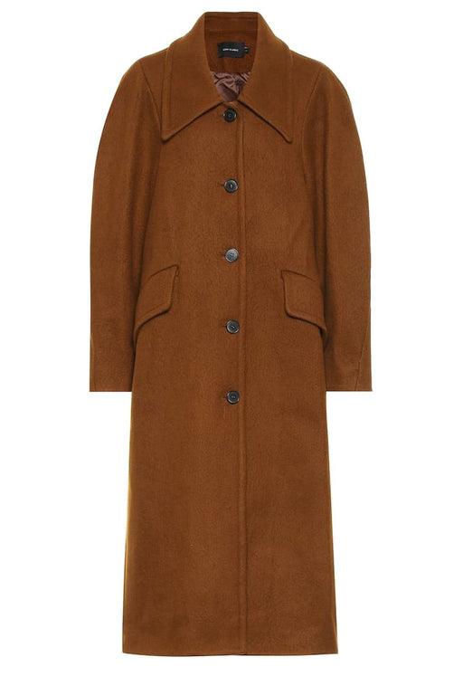 low classic low collar virgin wool coat brown gyapjukabat