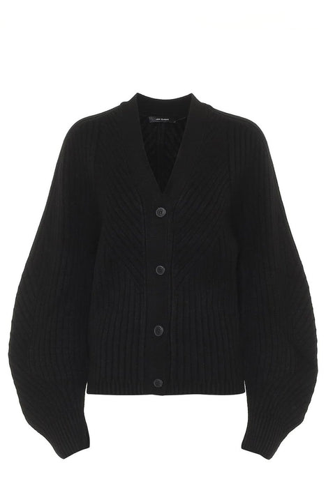 low classic whole garment knit cardigan black puffos ujju kardigan