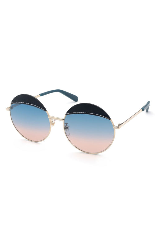 Leather Brow Round-Frame Sunglasses