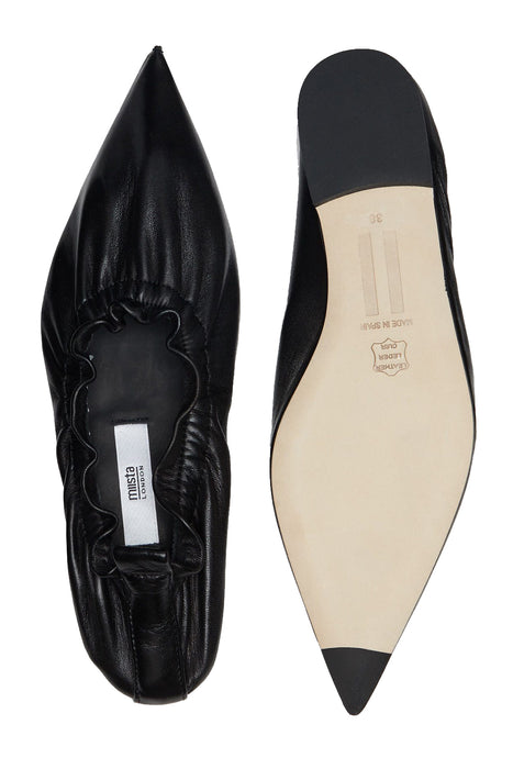 Aina Black Leather Flats