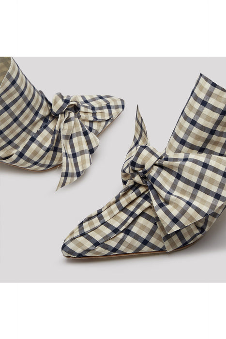 Paulette Navy Cream Check Mules