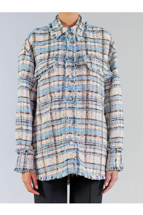 msgm cotton tweed shirt light blue kockas ing