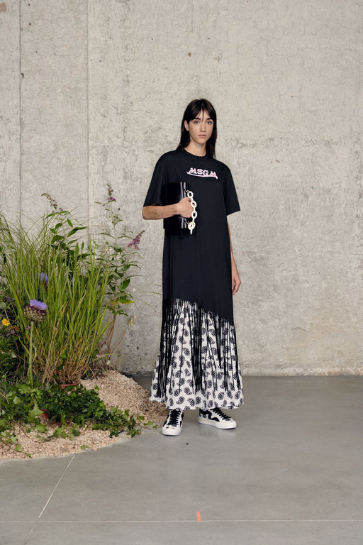 msgm logoprint fringed dress black rojtos ruha