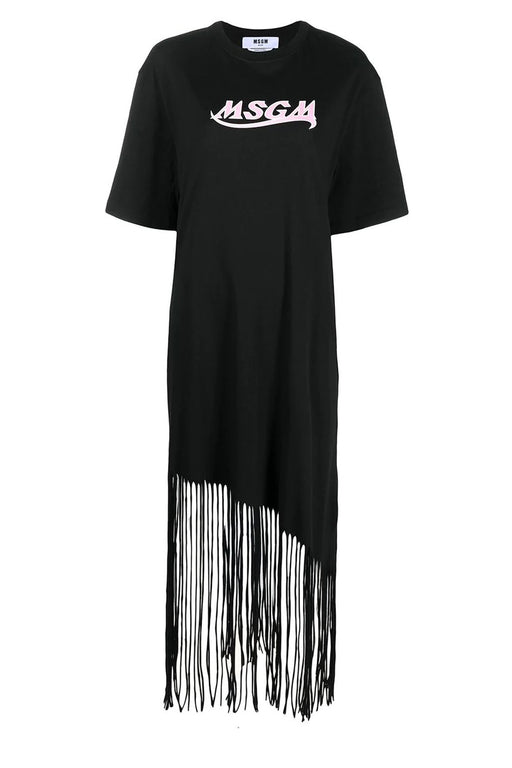 Logo-Print Fringed Dress