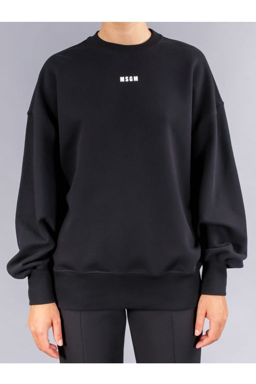 msgm sweatshirt with micro logo black pulover