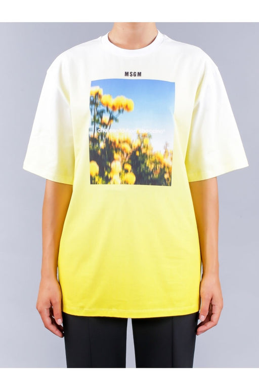 msgm thousand flowers tshirt lemon yellow polo