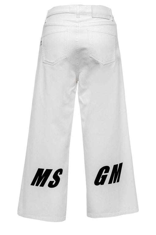 Wide-Leg Cropped Pants With Logo