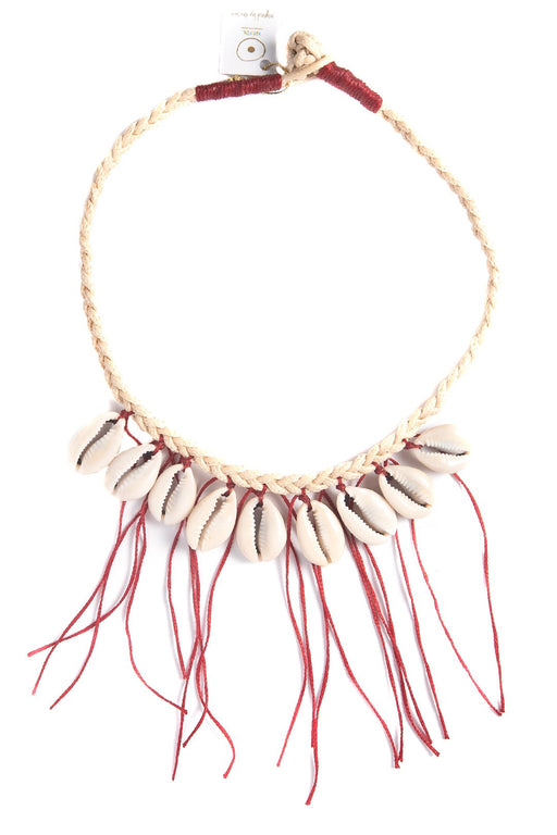 Red Tassels Cowries Necklace
