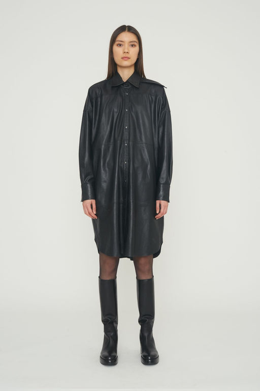 remain birger christensen lavare longsleeve leather dress black borruha