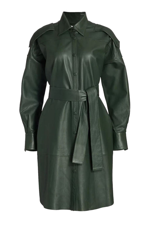 Lavare Long-Sleeve Leather Dress