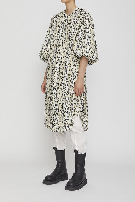 remain birger christensen milla cotton dress leopard all over print pamutruha