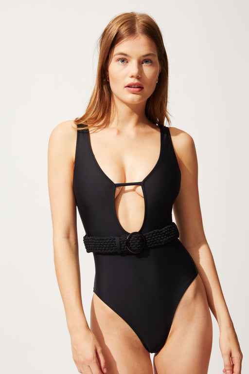 solid striped the beatriice belted swimsuit black furdoruha
