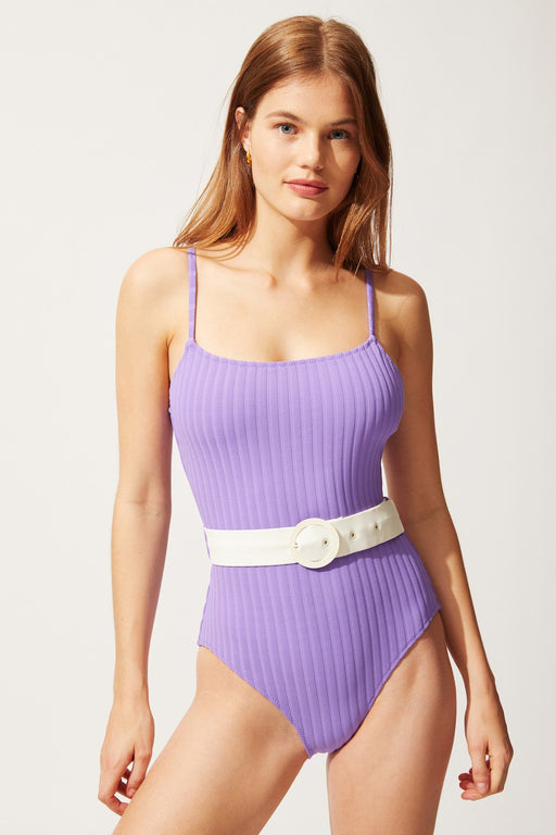 solid striped the nina swimsuit violet rib furdoruha