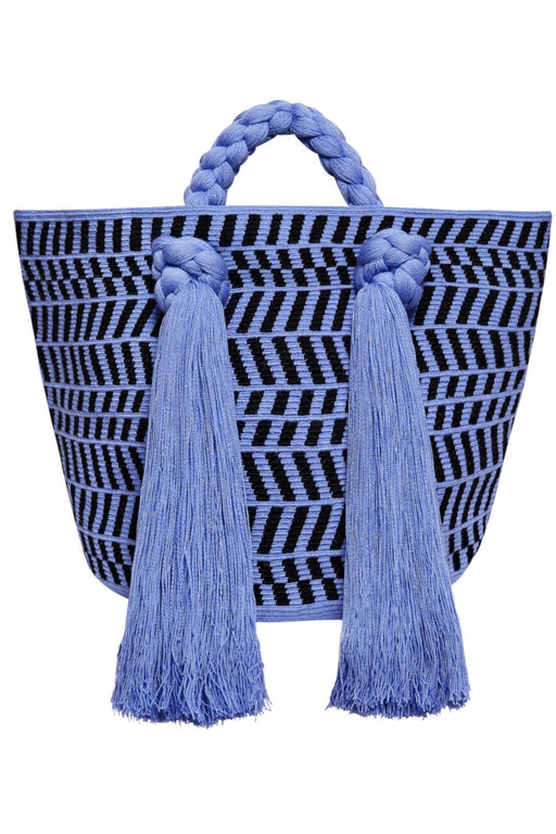 sophie anderson eve large everyday carryall totebag cobalt black stripes kezzel horgolt taska