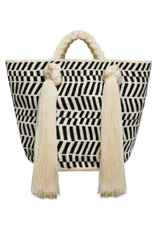 sophie anderson eve large everyday carryall totebag cream black stripes kezzel horgolt taska