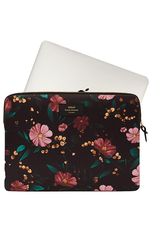 Black Flowers Laptop Case