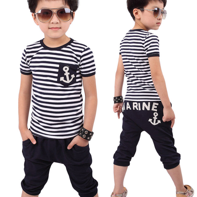 2-7 year Kids boys set clothes set Summer Children Clothing Boys Navy Striped T-shirt And Pants Suits children clothes Drop ship