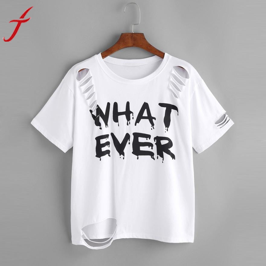 WHAT EVER Letters Printed T-shirt Fashion Women Short Sleeve White Tops 2017 Summer Casual Shirt Holes femme Blusa Harajuku