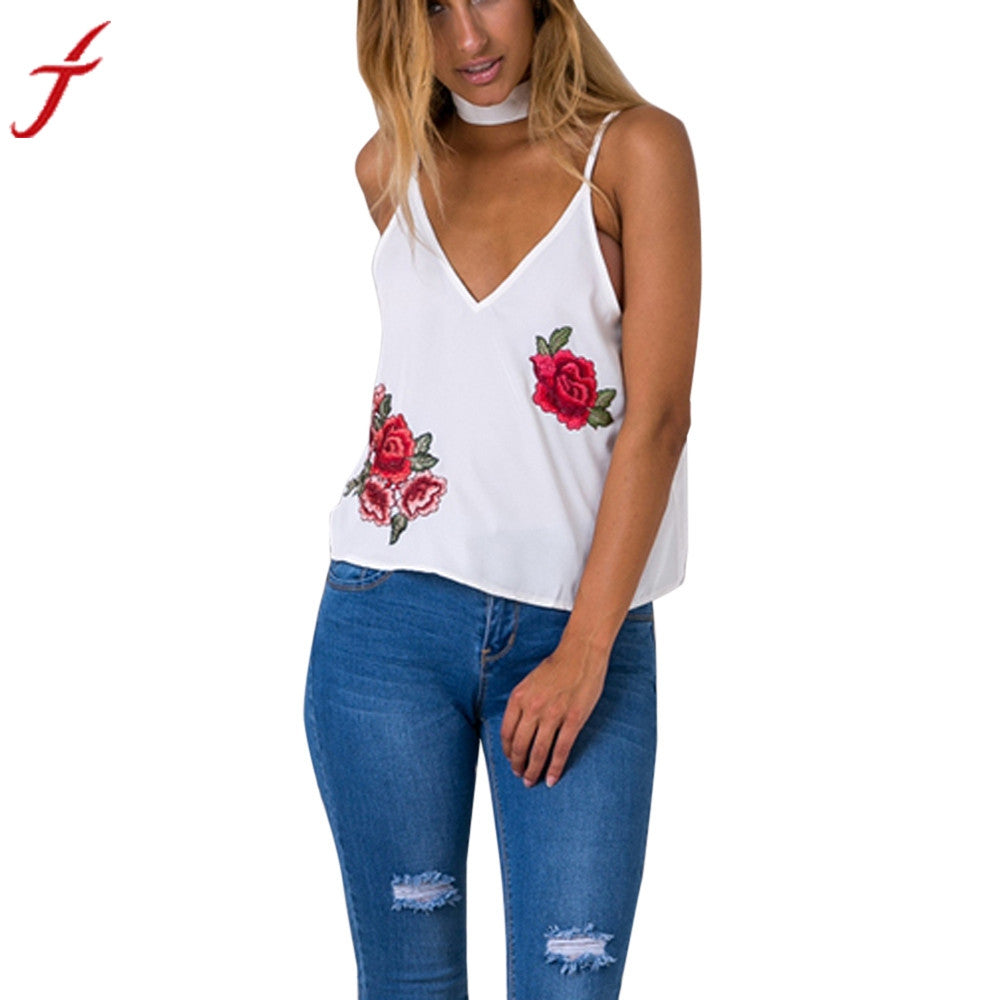 2017 New off the shoulder tops for women Women Sexy Appliques Rose Sleeveless Tank Crop Tops white crop top lace cropped #LYB