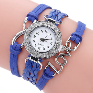 Infinity Love Hand-knitted Leather Chain Quartz Wristwatch Watch