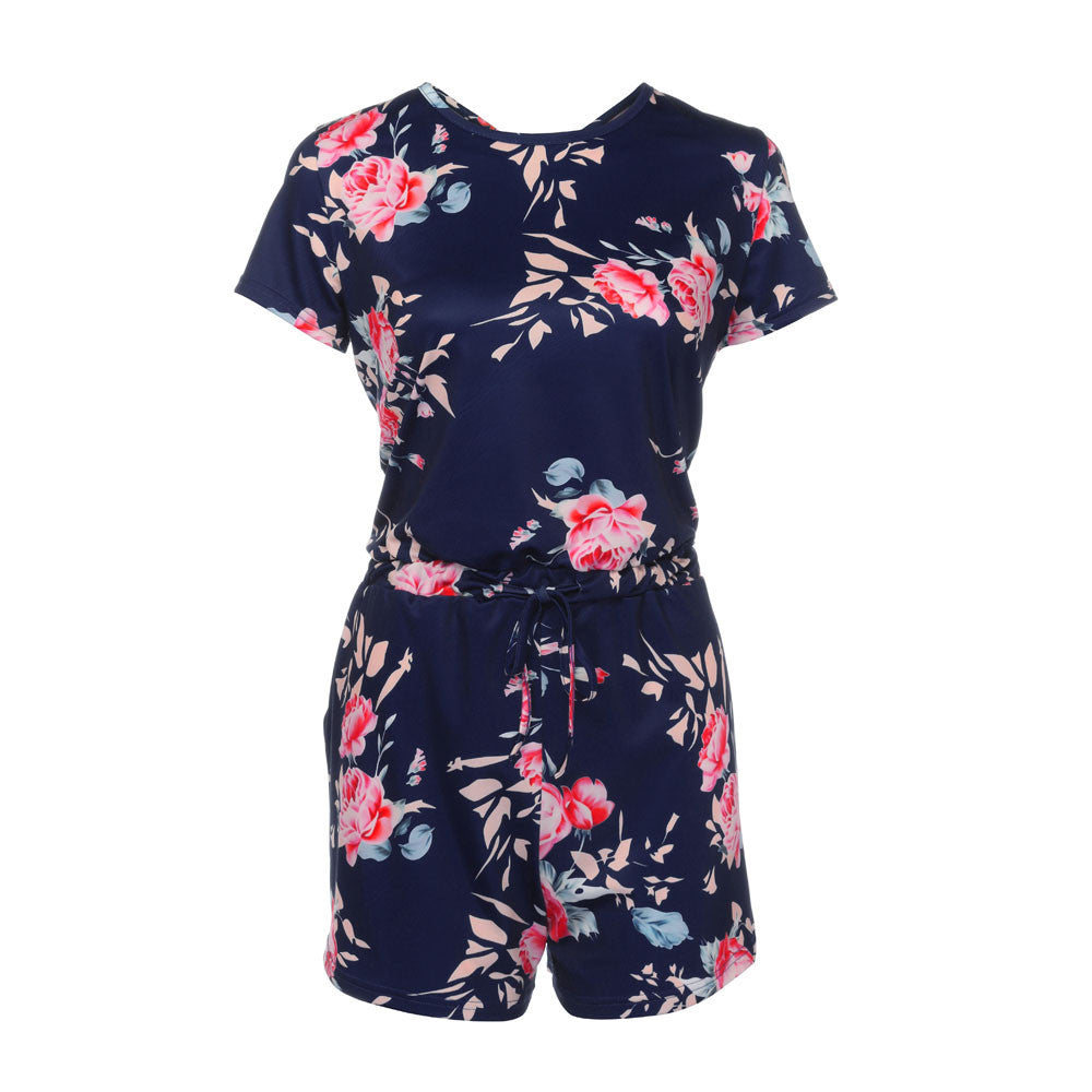 Women Floral Print Short Sleeve Jumpsuit Summer Playsuit Beach Rompers
