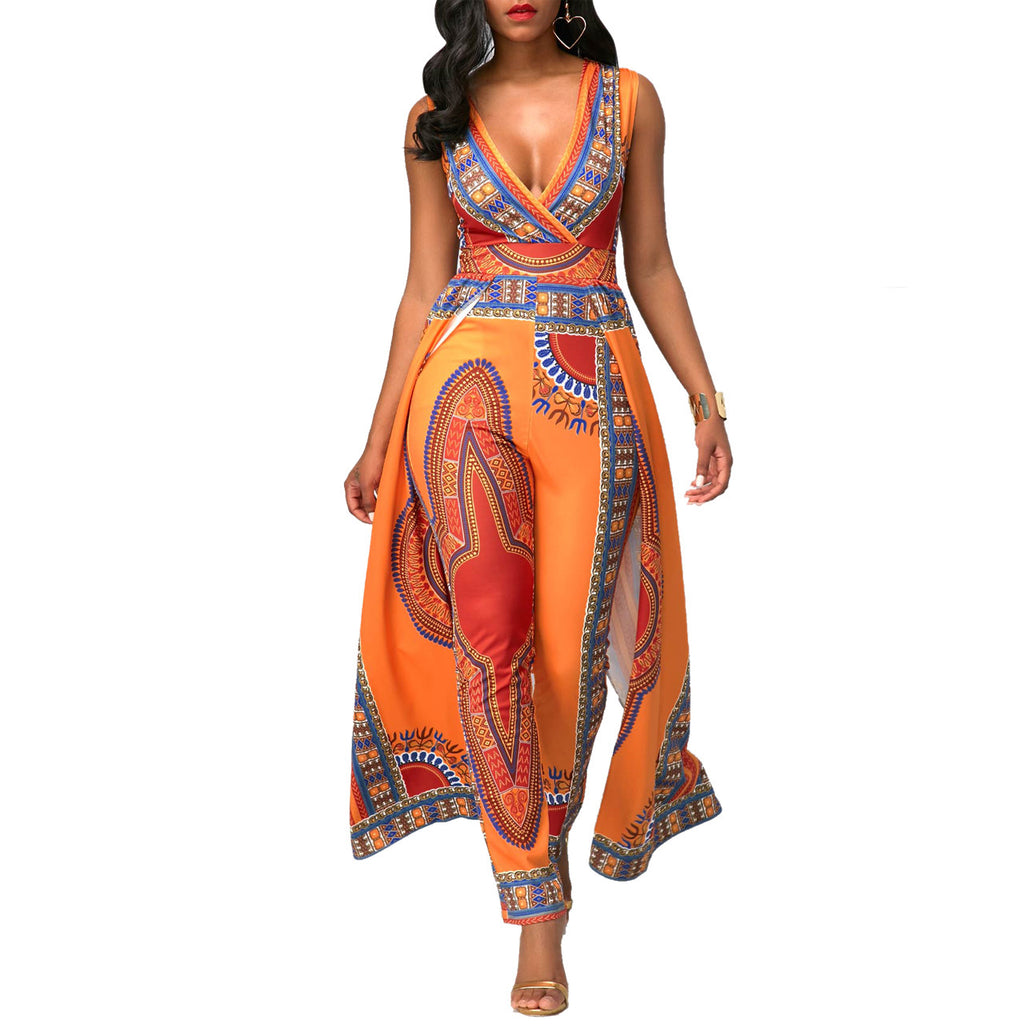 Women Fashion African Print Bodycon Pants Deep V-Neck Party Jumpsuits