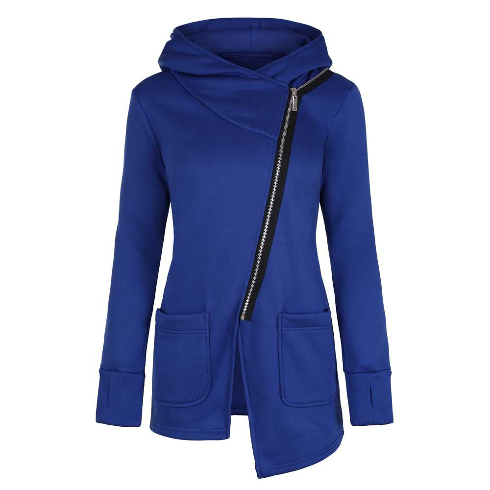 Women Winter Zipper Blouse Hoodie Hooded Sweatshirt Coat Jacket Outwear