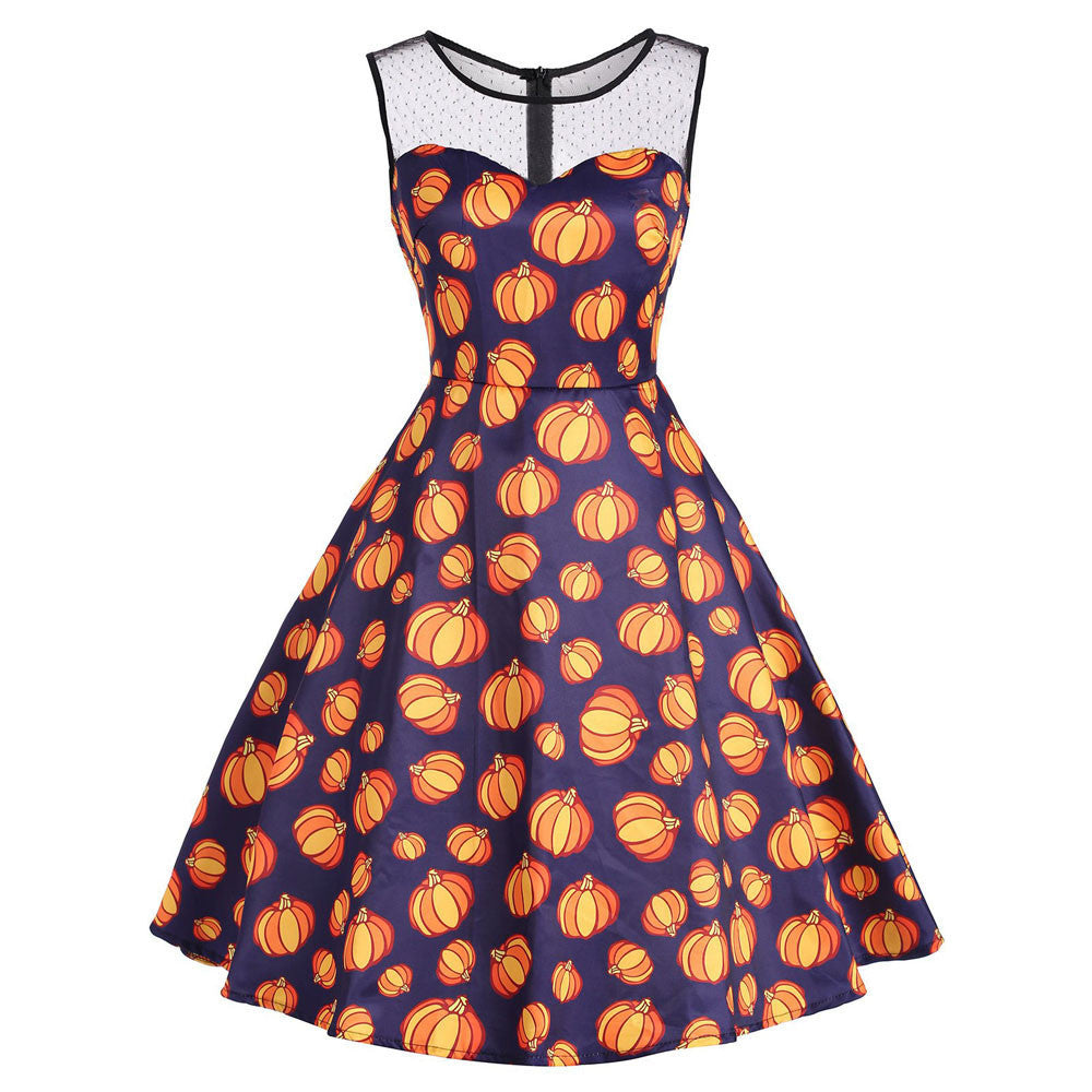 Women's Vintage O-Neck Print Sleeveless Halloween Party Swing Dress
